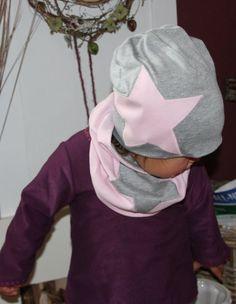 NovemberLicht Kinder Beanie grau rosa Star von byGretchen auf DaWanda.com -Beanie aus sehr weichem Jersey mit einer rosa Sterne Applikation