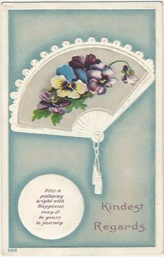 Kindest Regards Victorian Fan with Purple by postcardsintheattic