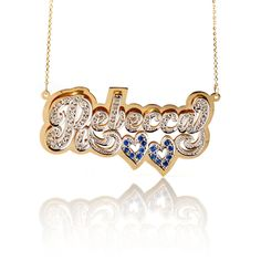18K Gold-Filled Color Stone Double Plate Name Necklace