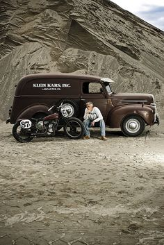 Classic panel van and motorcycle