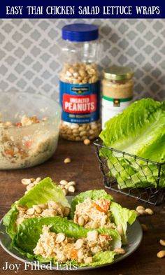 These Easy Thai Chicken Salad Lettuce Wraps have the flavors of peanuts, lime, ginger, & coconut. They are low carb, grain free, THM S, and ready in 10 min. #sponsored