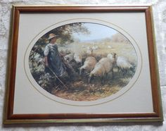 Vintage Framed Print SHEPHERD'S DAUGHTER by F. BLACKLOCK Girl with Sheep Vintage Art Prints, Vintage Frames, Sheep, Daughter, Framed Prints, Daughters