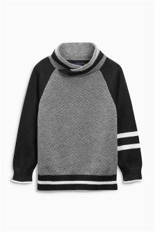 Черно-белый текстурированный джемпер с воротником‑хомутом (3-16 лет)
