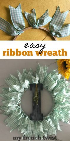 easy ribbon wreath - My French Twist My craft club meets monthly, so I'm always searching for projects that are quick and easy. Projects that pair well with good food, ample conversation and aged wine. This easy ribbon wreath was the perfect choice! Easy Ribbon Crafts, Diy Ribbon, Wreath Crafts, Diy Wreath, Wreath Making, Wreath Ideas, Tule Wreath, Bow Making, Burlap Wreaths