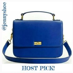 {j. crew} 'edie' casablanca blue handbag Blogger favorite! J. Crew factory casablanca blue edie purse with detacable shoulder strap with a drop of approx 11 inches. Purse measures approx 10x8x2.75. 100% leather. strap is a little bent from storage. Brand new with tags   No trades. See separate listing for modeled photos! J. Crew Bags