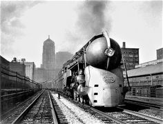 An eastbound 20th Century Limited departs LaSalle Street Station, 1938, Chicago