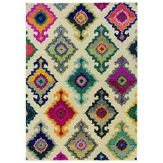 Perfect rug for a nursery or kids' room! Kaleidoscope Ivory and Multicolored Area Rug (4' X 5'9)