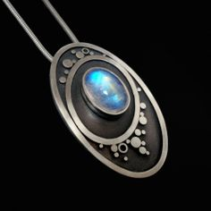 Blue Moonstone Oval Pendant, Oxidised Silver by Abi ...