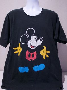 80s Walt Disney Mickey Mouse Black Short Sleeve Graphic T-Shirt