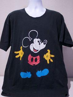 80s Walt Disney Mickey Mouse Black Short Sleeve Graphic T-Shirt