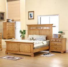 Zahara King Panel Bed in Light Oak