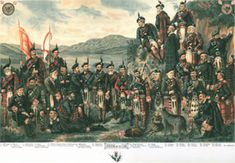 The Prince of Wales hosts the legendary 19th Century Gathering of the Clans. Identified in the print are the Chieftains of the following Clans: Cameron, Campbell, Chisholm, Farquharson, Fraser, Forbes, Gordon, Graham, MacDonald, MacDonnell, MacFarlane, MacGregor, MacIntosh, MacKenzie, MacLachlan, MacLean, MacNab, MacPherson, MacRae, Munro, Murray, Ross, Scott, Stewart, Sutherland.