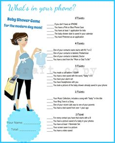 Baby Shower Game-Whats in your phone Blue by 31Flavorsofdesign