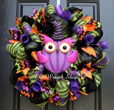 Halloween Owl Wreath in Lime Green, Black, Purple and Orange, featuring a purple RAZ Halloween Owl with Witch's Hat