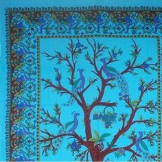 Unique Handmade 100% Cotton Tree of Life Peacock Tapestry Tablecloth Blue 85x60 (Twin)