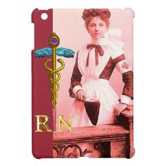 VINTAGE NURSE and Gold Caduceus NR Emblem Cover For The iPad Mini sirs nursing, tandem nursing, intrapartum nursing #nursing #Nursingstudies #nursingcoverjb, back to school, aesthetic wallpaper, y2k fashion
