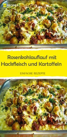 Brussels sprout casserole with minced meat and potatoes 😍 😍 😍 - Lecker Kochen - Rezepte Meat Recipes, Wine Recipes, Salad Recipes, Healthy Recipes, Thanksgiving Gravy, Easy Chicken Pot Pie, Meal Prep Guide, One Pot Pasta, Easy Meals