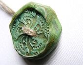 1 Artisan Large Button  handmade burnished carved clay turquoise copper patina