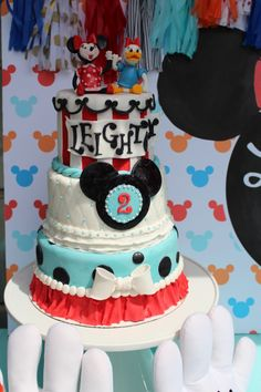 Amazing Mickie Mouse Clubhouse cake for a 2nd birthday party theme!