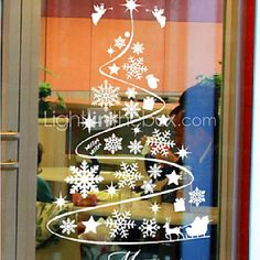 [ILS ₪ 70.34] Classic Abstract Christmas Tree Window Stickers
