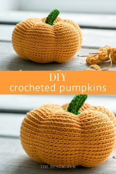 Easy DIY Crocheted Pumpkins These crocheted pumpkins are the perfect DIY decor to make for this coming fall. Beautiful, simple, and inexpensive they're sure to brighten up any fall space for halloween and thanksgiving all fall long. Crochet Fall Decor, Crochet Diy, Crochet Food, Holiday Crochet, Crochet Gifts, Learn To Crochet, Crochet Cupcake, Crochet Owls, Crochet Animals