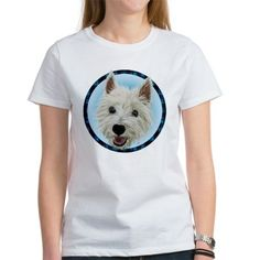 Smiley Westie Tartan circle T-Shirt on CafePress.com