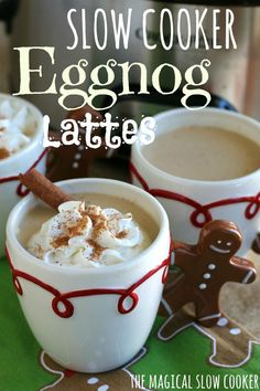 This recipe for Slow Cooker Eggnog Lattes is such a fun and different way to enjoy your favorite winter time drink. Warm up with friend and family and a good movie :)