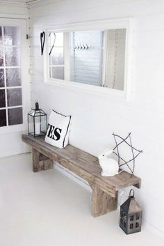 Will totally reason with my husband why i must have this rustic bench for the entryway! Hallway Inspiration, Interior Inspiration, Diy Casa, Rustic Bench, Farmhouse Bench, Rustic Wood, Modern Farmhouse, Interior Decorating, Interior Design