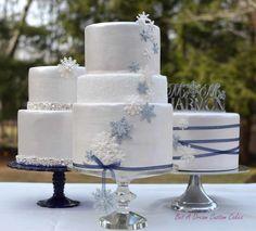 Winter wedding cake trio.