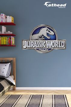 Jurassic World | Bring the world of Isla Nublar right to your child's room and they can feel like they're part of the fun! Like all of Fathead's wall decals and other Jurassic World wall decals from Fathead, they're so much easier to put up than wallpaper because you just peel it off the sheet and stick it on the wall. SHOP http://www.fathead.com/entertainment/jurassic-world/jurassic-world-logo-wall-decal/ | Animal Home Decor On A Budget | DIY Girls + Boys Bedroom Decor | Fathead Wall…
