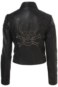 Skull Studded Leather Biker Jacket from topshop #skull #leather #jacket #topshop