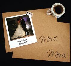 Carte de remerciement mariage, esprit vintage par crea-graphic