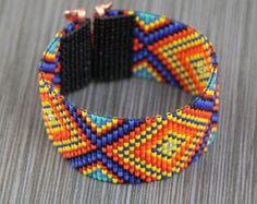 Items similar to Rainbow Suburst Wide Cuff Bead Loom Bracelet Artisanal Jewelry Southwestern American Indian Western Beaded Boho Christmas Gift for Her on Etsy