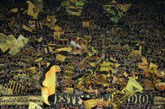 Borussia Dortmund's supporters cheer their team before the German first division Bundesliga soccer match against Nuremberg in Dortmund March  1, 2014. REUTERS/Ina Fassbender...
