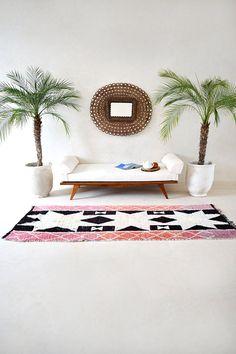 A BED AT ÄNGAVALLEN 8' x 3'2 Boucherouite Rug. by pinkrugco