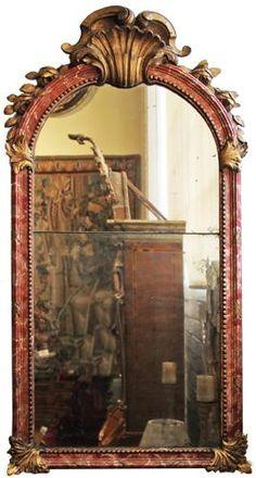 An 18th Century Italian Polychrome and Parcel Gilt Mirror 4424