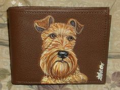 Irish Terrier Dog Custom Painted Leather by daniellesoriginals, $32.95