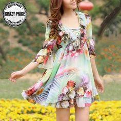 Luxury flowers printed chiffon leaf collar dress