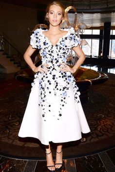 Blake Lively wore a gorgeous flower embellished Ralph & Russo Couture dress to the Allure magazine cover party in NYC.