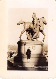 Black and White Vintage Snapshot Photograph Woman Huge Horse Statue 1920's