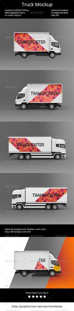 Truck Mockup — Photoshop PSD #truck #vehicle • Available here → https://graphicriver.net/item/truck-mockup/7251290?ref=pxcr