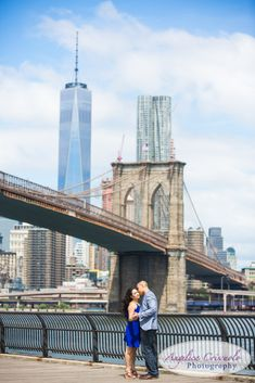 Engagement photo ideas, what to wear for your engagement, Freedom Tower Engagement view, Brooklyn Bridge NY Wedding Photographer | DUMBO Engagement | Mylisande & MIchael | New York Wedding Photographers and Engagement Photos with Photo Booth Rental |Angelica Criscuolo Photography