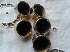 www.SophieLadyDeParis.etsy.com French Black Enameled Gold #Buttons . Set of 5…