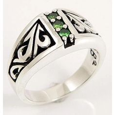 While the three vertical emeralds are the focal point of its design, our Tribal Emerald Ring boasts tribal carvings that stand out against blackened background Silver Skull Ring, Silver Man, Skull Rings, Mens Rings For Sale, Rings For Men, Gothic Jewelry, Silver Jewelry, Mens Emerald Rings, Sterling Silver Mens Rings