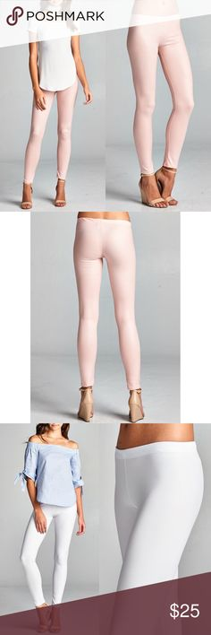 🚨1 HR SALE🚨DEBORAH slick leggings - BLUSH Matte finish, Stretchy faux leather leggings. Super sexy & flattering. MADE IN USA.  AVAILABLE IN BLUSH, WHITE AND BLACK  🚨NO TRADE, PRICE FIRM🚨 Bellanblue Pants Leggings