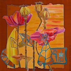 """Платок батик """" Маки"""" - коричневый,шелковый платок,шелк натуральный,ручная работа"""