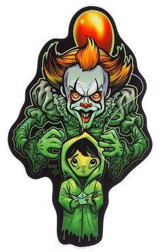 """""""We all float down here, Georgie!"""" Stephen King's iconic creepy clown, as illustrated on this sticker by Belle Dee. Easter Jesus Crafts, Clown Paintings, Pennywise The Dancing Clown, Horror Icons, Creepy Clown, Skateboard Design, Halloween Stickers, Halloween Horror, Scary Movies"""