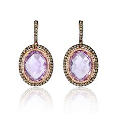This stylish pair of 14k rose gold dangle earrings, feature 2 pink amethyst stones, weighing 20.03 carats total and 88 round brilliant cut white diamonds, weighing .25 carat total with 98 cognac diamonds, weighing .93 carat total.
