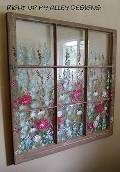 Old Painted 9 pane window,Custom Order,Wall Decor, Unique decorative Window