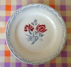 ¤ Manufacture Digoin (Sarreguemines) - Juliette / french ironstone plate red and grey floral
